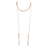 Tan Faux Suede Goldtone Bar Lariat Bolo Wrap Choker Necklace