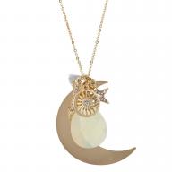 Gold Tone White Opal Grey Mini Tassel Moon Star Charm Necklace