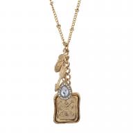 Goldtone Love Inspirational Leaf Arrow RhinestoneCharm Necklace