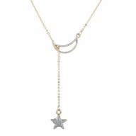 Gold Tone Crystal Rhinestone Celestial Moon Star Lariat Necklace