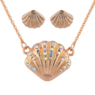 Rose GoldTone AB Stone Seashell Pendant Necklace Earrings Set 2