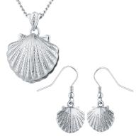 Silver Tone Seashell Pendant Necklace and Earrings Set 2PC