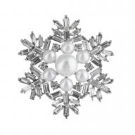 Silvertone Faux Pearl Xmas Holiday Snowflake Brooch Pin
