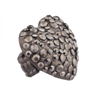 Gunmetal Heart Stone Studded Stretch Ring