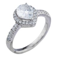 Silver Tone Teardrop Pear Rhinestone Engagement Ring Size 6