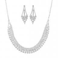 Silvertone Rhinestone Special Occasion Fashion Jewelry Set 2PC