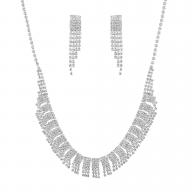 Silver Tone Faux Cupchain Rhinestone Waterfall Jewelry Set 2PC