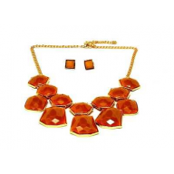Geo Glitter Drop Bib Necklace Earrings Set