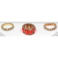 Red Rhinestone Stone Stretch Ring Set (3 PC)