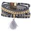 Gold Tone Black Grey Mexican Blanket Fabric Wrap Bracelet