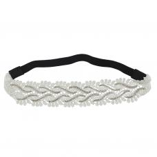 White Medium Lace and Rhinestone Bridal Glitz Stretch Head wrap
