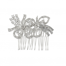 Silvertone Pave Crystal Ribbon Flower Bride bridal Hair comb