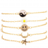 Yin Yang Sunflower Floral Happy Face Smile Crescent Moon Star BFF Best Friends Arm Candy Bracelet Set
