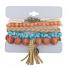 burnished Gold Tone Tassel Boho Beaded Strand Arm Candy Set 5PC