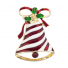 Christmas X-mas Holiday Bell Ribbon Enamel and Gold Tone Brooch