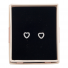 Silver Tone Faux Rhinestone Cutout Pave Heart Stud Earrings