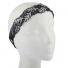 Black and Rhinestone Embroidered Leaf Mesh Stretch Head wrap