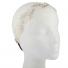 Beige and Rhinestone Embroidered Leaf Mesh Stretch Head wrap