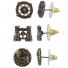 Burnish Gold Tone Steampunk World Traveler Stud Multi Pack 3PR