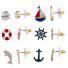 Gold Tone Enamel Nautical Anchor Ship Multi Earring Stud Set 6PR