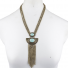 Boho Burnished Gold and Turq Marble Stone Chain Lariat Necklace