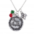 burnished SilverTone Christmas Holiday Charm Pendant Necklace