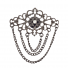 Hematite Multi Layer Chain Baroque Casted Filagree Brooch Pin