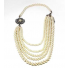 Faux Pearl Swag Flower Statement Floral Necklace