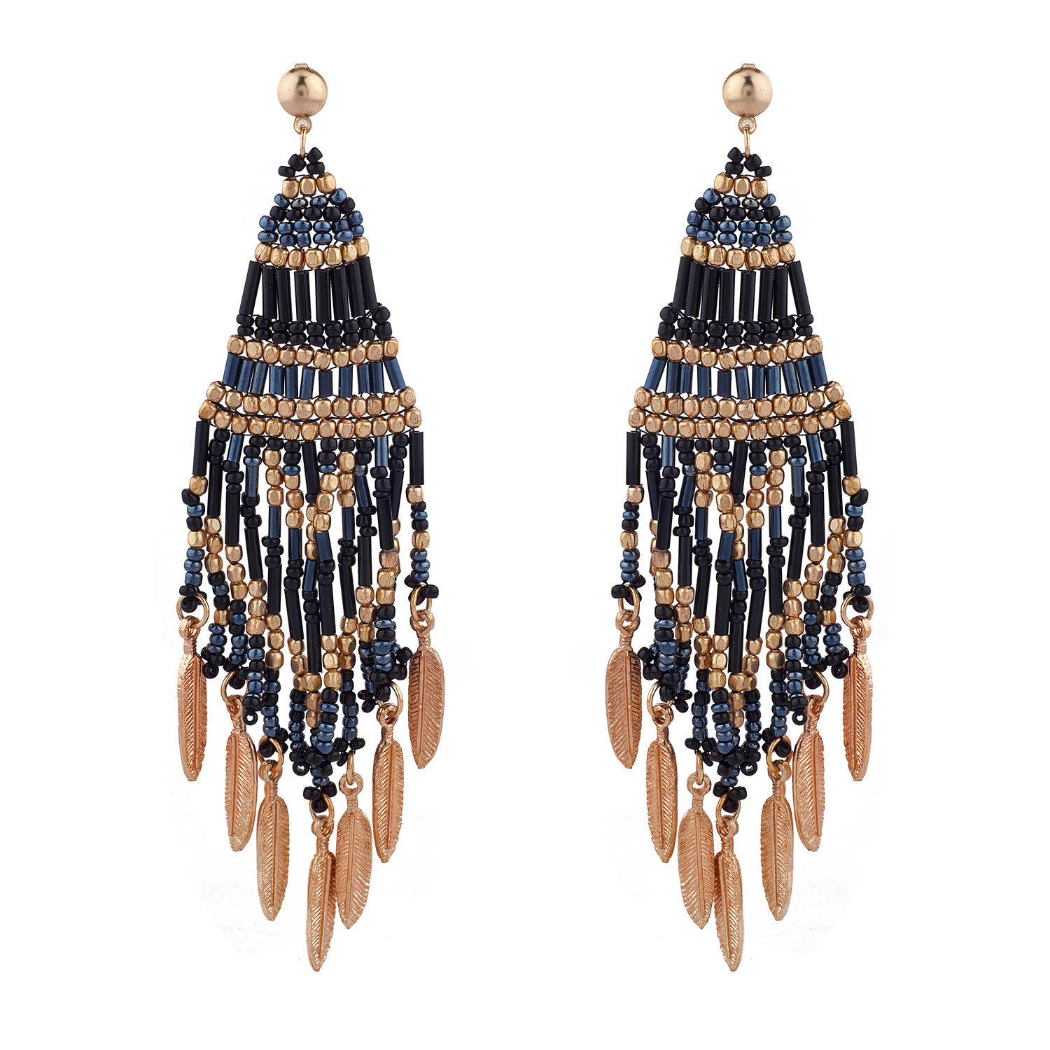 Boho Festival Black Gold Tone Seed Bead Statement Earrings